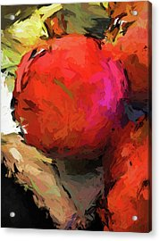 Red Pomegranate In The Yellow Light Acrylic Print