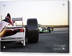 Red Race Car Close Up Front View On A Acrylic Print
