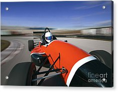 Red Racing Car Driving At High Speed In Acrylic Print