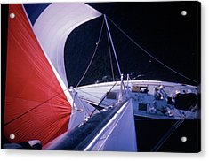 Red-topped Spinnaker Bellying Out From N Acrylic Print