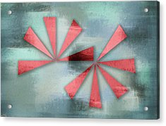 Red Triangles On Blue Grey Backdrop Acrylic Print