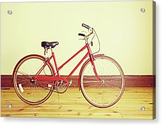 Red Vintage Retro Bicycle Abstract Acrylic Print by Eyecrave