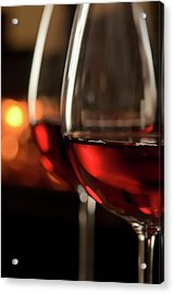 Red Wine By The Fire Acrylic Print by Nightanddayimages