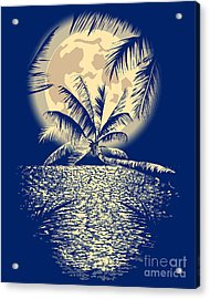 Reflected In The Ocean Full Moon On Acrylic Print