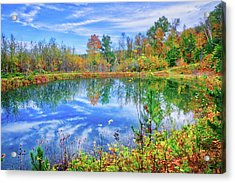 Acrylic Print featuring the photograph Reflecting On Fall At The Pond by Lynn Bauer