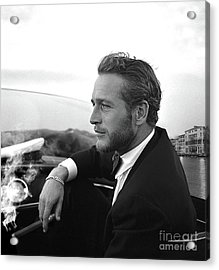 Reflecting, Paul Newman, Movie Star, Cruising Venice, Enjoying A Cuban Cigar, Black And White Acrylic Print