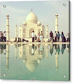 Reflection Of People In Front Of Taj Acrylic Print by Amanda P / Eyeem