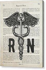 Registered Nurse Gift Idea With Caduceus Illustration 01 Acrylic Print