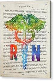 Registered Nurse Gift Idea With Caduceus Illustration 03 Acrylic Print