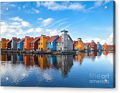 Reitdiephaven - Colorful Buildings On Acrylic Print