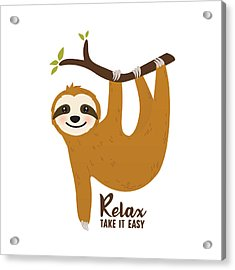Relax Take It Easy - Baby Room Nursery Art Poster Print Acrylic Print