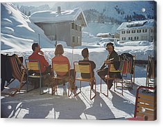 Relaxing In Lech Acrylic Print by Slim Aarons