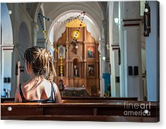 Religious Scene Young Female Praying At Acrylic Print