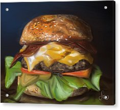 Acrylic Print featuring the pastel Renaissance Burger  by Fe Jones