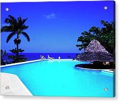 Resort Pool Acrylic Print by Greg Johnston