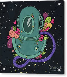 Retro Diving Suit With Abstract Acrylic Print