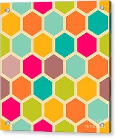 Retro Geometric Hexagon Seamless Pattern Acrylic Print