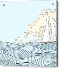 Retro Hand Draw Styled Sea With Clouds Acrylic Print