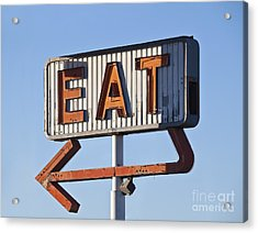 Retro Neon Eat Sign Ruin In Early Acrylic Print