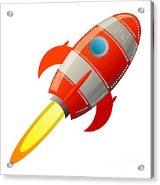 Retro Rocket, Vector Illustration Acrylic Print