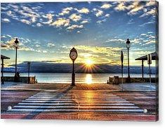 Revere Beach Clock At Sunrise Angled Long Shadow Revere Ma Acrylic Print