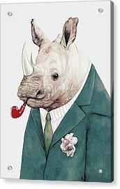 Rhino In Teal Acrylic Print