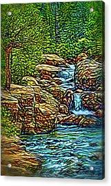 Acrylic Print featuring the digital art Rhythm Of The Waterfalls by Joel Bruce Wallach