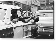 Riding Shotgun During Newark Riots, 1967 Acrylic Print by Fred W. McDarrah