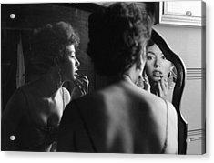 Rita Moreno Putting On Lipstick In Acrylic Print