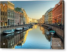 River Channel With Boats In Acrylic Print