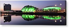 Acrylic Print featuring the photograph River Clyde Waterfron Twilight Reflections by Grant Glendinning