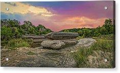 River Erosion At Sunset Acrylic Print