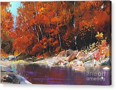 River In The Autumn Forest,landscape Acrylic Print