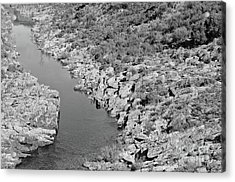 River On The Rocks. Bw Version Acrylic Print
