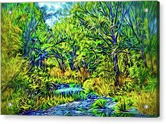 Acrylic Print featuring the digital art River Rapture Flowing by Joel Bruce Wallach