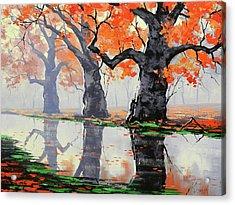 Riverside Trees Acrylic Print