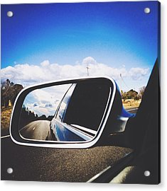 Road Reflecting On Side-view Mirror Acrylic Print