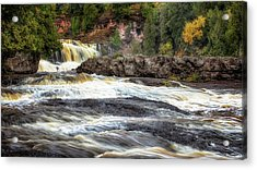 Acrylic Print featuring the photograph Roaring Gooseberry Falls by Susan Rissi Tregoning