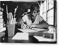 Robert Redford Writing At Desk Acrylic Print by John Dominis