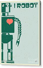 Robot With Heart On Chest, Retro Poster Acrylic Print