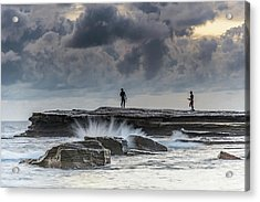 Rock Ledge, Spear Fishermen And Cloudy Seascape Acrylic Print