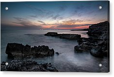 Acrylic Print featuring the photograph Rocky Seascape With Dramatic Beautiful Sunset by Michalakis Ppalis