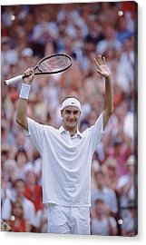 Roger Federer Acrylic Print by Clive Brunskill