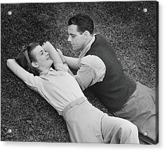 Romantic Couple Lying On Grass, B&w Acrylic Print by George Marks