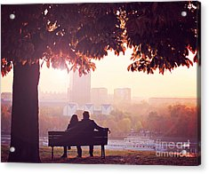Romantic Couple On A Bench By The River Acrylic Print