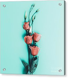 Romantic Flowers On Blue Background Acrylic Print