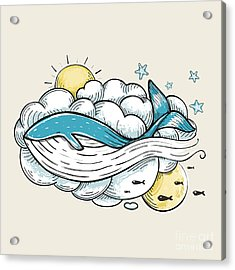 Romantic Whale Swimming In Clouds Retro Acrylic Print