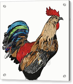 Acrylic Print featuring the digital art Rooster 1 by Lucas Boyd