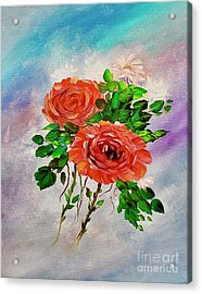 Acrylic Print featuring the painting Roses by Mary Scott