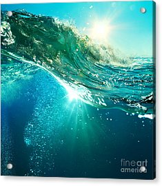 Rough Colored Ocean Wave Breaking Down Acrylic Print by Willyam Bradberry